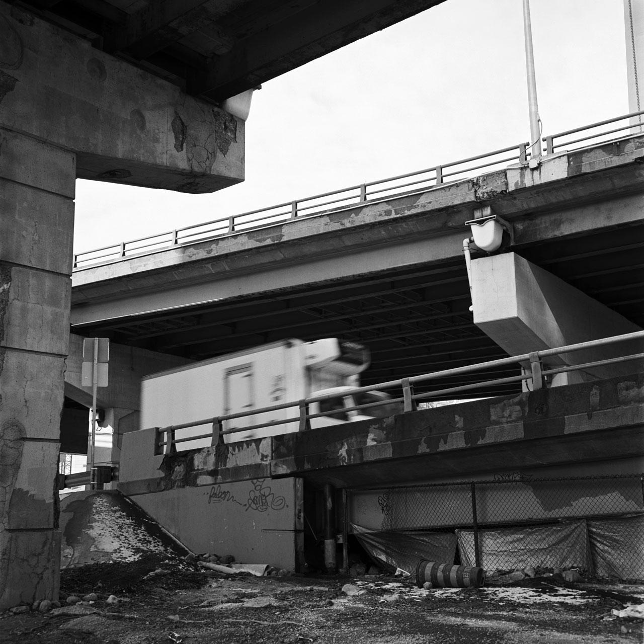 manufactured-private-space under a bridge