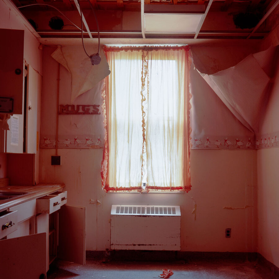 decorative image of an abandoned room in a rose glow