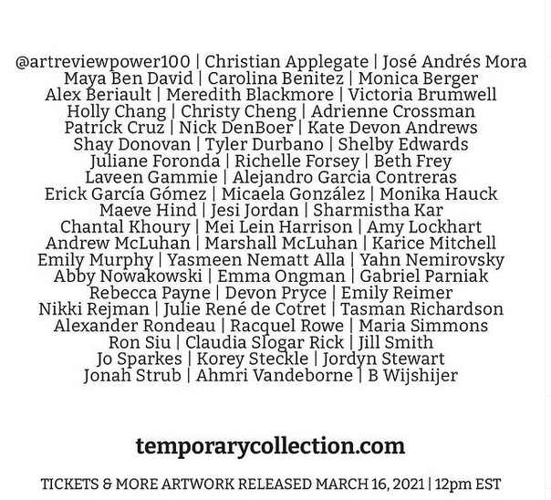 black and white graphic is names in Temporary Collection exhibition